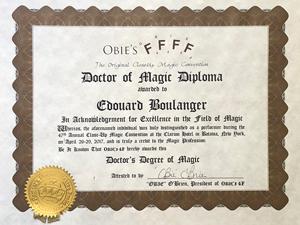 Tours de magie marseille Diplôme de magicien